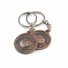 globe earth brass keyring metal coin holder keychain