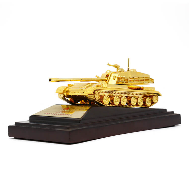 Customized 3D Tank model plating metal trophy with gift box