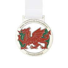 Custom Gold Plated Hollow Out Dragon Soft Enamel Lace Medal