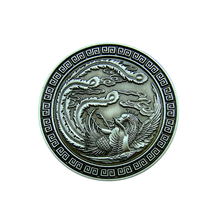 Chinese Dragon Challenge Antique Bronze Plating Brass Eagle Coin