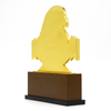 3D Eagle Logos Gold Plating Metal Trophy with Wooden Base