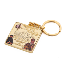 Square Gold Metal Custom Logo Beauty Keychain for Sublimation