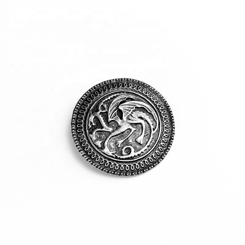 Metal Round Shape Game of Thrones Lapel Pin Custom for Men