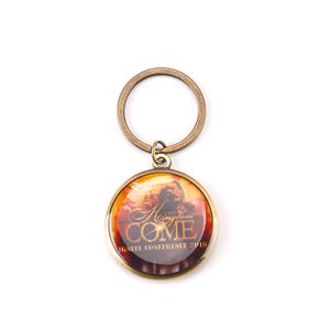 Custom Design Round Shape Stock Molds Printing Epoxy Metal Keychain