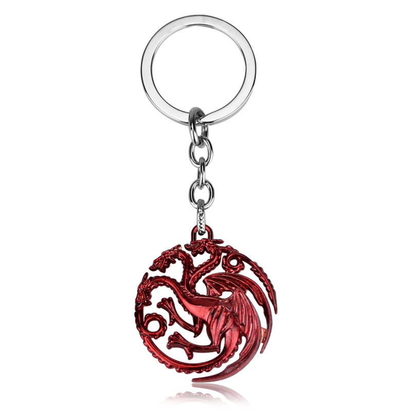 Stock Hot Sell Metal Movie Dragon Game of Thrones Keychain
