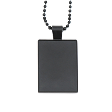 Customized Blank Zinc Alloy Big Black Dog Tag with Ball Chain