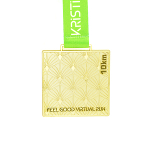 Custom Antique Gold Square Shape Medal for Running