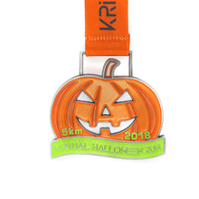 Custom Antique Bronze Halloween Pumpkin Lantern Metal Medals