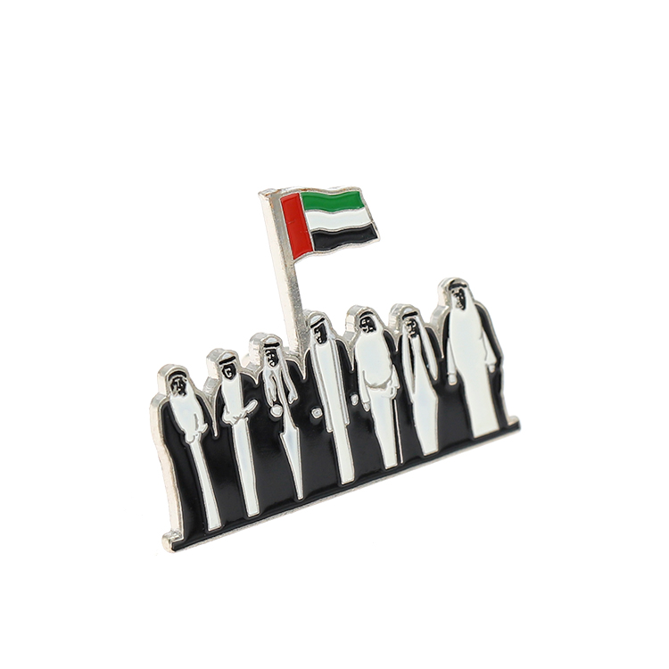 Metal Enamel UAE Lapel Pin Magnetic Back Custom Sale