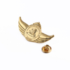 Gold Wing Zine Alloy Name Golden Die Cut Metal Badge